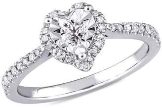 Laura Ashley Sterling Silver 0.33 CT. T.W. Diamond Bridal Engagement Ring