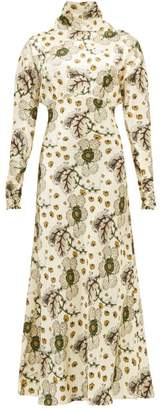 Etro Leicester High-neck Floral-print Satin Dress - Womens - Ivory Multi
