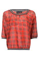 Select Fashion Fashion Womens Red Tartan Sporty Neck Sweat Top - size 18