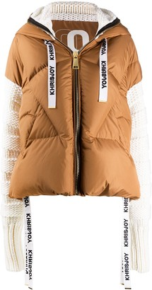KHRISJOY Knit-Sleeve Quilted Down Coat