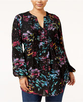 Melissa McCarthy Trendy Plus Size Pintucked Blouse