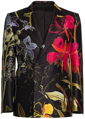 Alexander McQueen Floral Double-Breasted Wool & Silk Jacket