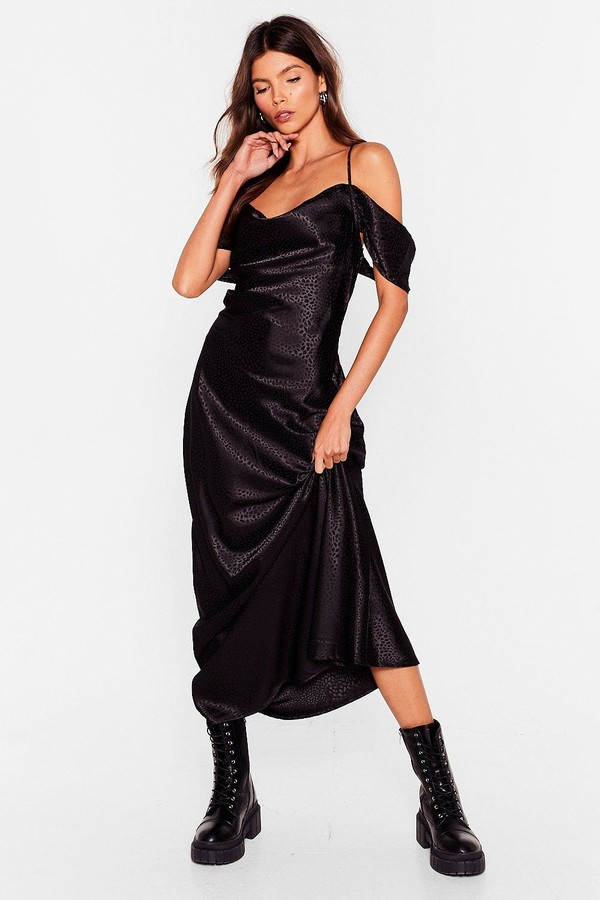 Thumbnail for your product : Nasty Gal Womens Jacquard Cowl Neck Maxi Dress - Black - 4
