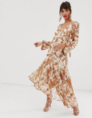 ASOS DESIGN midi dress with long sleeve and lace trim in paisley print and tassle tie
