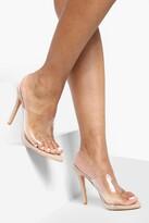 boohoo Pointed Toe Clear Mule Heels