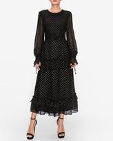 Express Endless Rose Black Swiss Dot Ruffled Dress