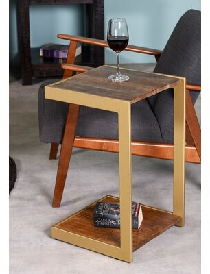 17 Stories Rumfelt Floor Shelf End Table with Storage Table Base Color: Antique Gold, Table Top Color: Brown