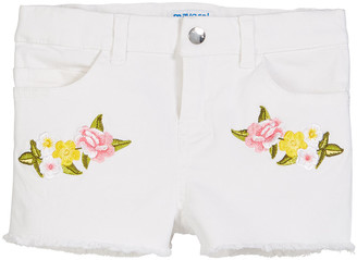 Mayoral Floral Embroidered Twill Shorts, Size 4-7