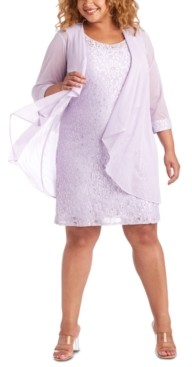 R & M Richards Plus Size Lace Dress & Jacket