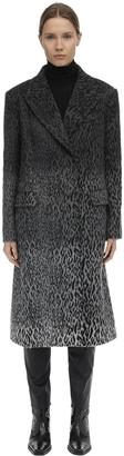 Karl Lagerfeld Paris Leopard Print Wool Blend Midi Coat
