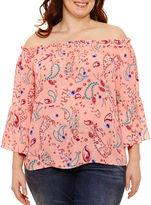 Boutique + + 3/4 Sleeve Off the Shoulder Woven Blouse-Plus