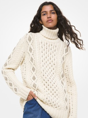 Michael Kors Studded Hand-Knit Cable Cashmere Turtleneck Sweater