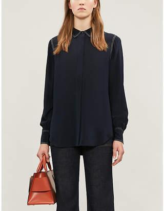 Claudie Pierlot Contrast-stitch silk-crepe shirt