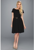 Ellen Tracy Short Sleeve Dress Fit And Flare With Belt (Black) - Apparel