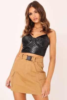 I SAW IT FIRST Khaki Cargo Belted Mini Skirt