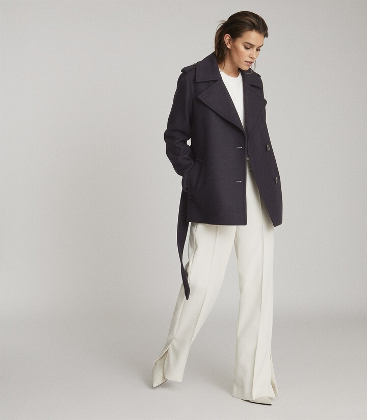Thumbnail for your product : Reiss Sia - Wool Blend Peacoat in Navy