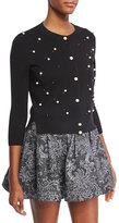 Marc Jacobs Wool-Cashmere 3/4-Sleeve Cardigan with Pearly Embellishments, Black