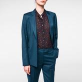 Paul Smith Women's Mottled Dark Teal Wool-Flannel Blazer