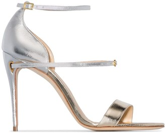 Jennifer Chamandi Rolando 105mm metallic leather sandals