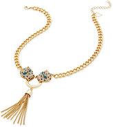 Thalia Sodi Gold-Tone Pavé Leopard Tassel Lariat Necklace, Only at Macy's