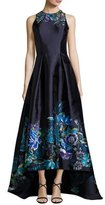 Theia Sleeveless Pleated Floral Taffeta High-Low Gown, Navy/Multicolor