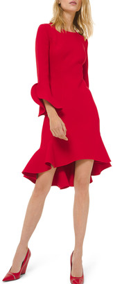 Michael Kors Long-Sleeve Flounce Dress