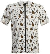 Dolce & Gabbana Jazz Print Beige Cotton Zipped Polo