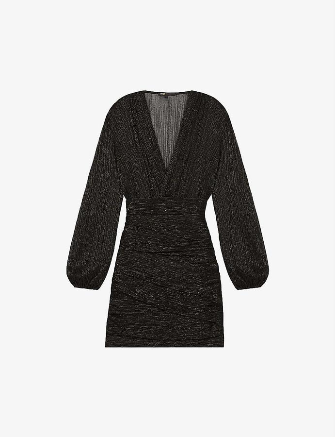 Maje Runnyta semi-sheer lurex dress