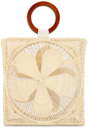 Sensi Woven Flower Top Handle Bag