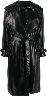 Alice + Olivia Belted Faux-Leather Trench Coat
