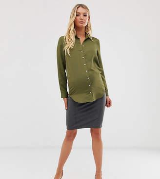 Mama Licious Mama.Licious Mamalicious stetch pintuck mini skirt-Gray