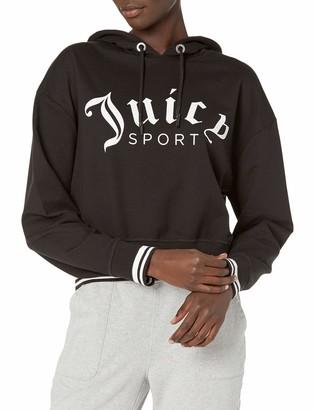 Juicy Couture Women's Cropped Logo Pullover Hoodie Hooded Sweatshirt