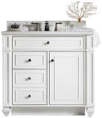 "James Martin Vanities Bristol 36"" Vanity, Cottage White, 3cm Eternal Jasmine Pearl Quartz To"