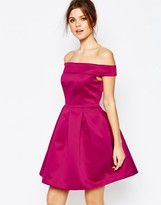 Warehouse Satin Bardot Prom Dress