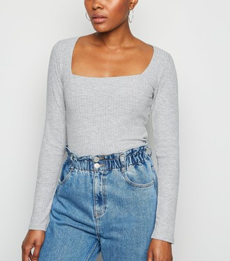 New Look Ribbed Square Neck Long Sleeve Top