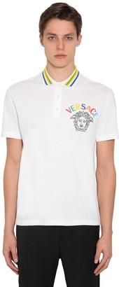 Versace Embroidered Cotton Pique Polo Shirt