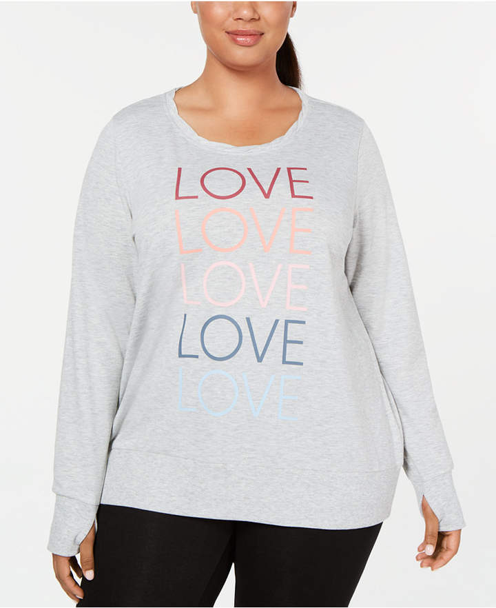 Ideology Plus Size Love Graphic Long-Sleeve Top