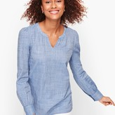 Talbots Poet Sleeve Cotton Popover - Chambray Dot