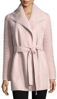 SENTALER Alpaca-Wool Wrap Coat w/ Ribbed Sleeves