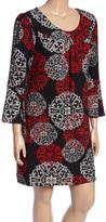 Aryeh Black & Red Filigree Scoop Neck Tunic Sweater - Plus