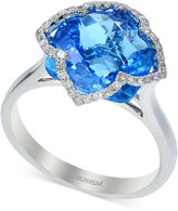 Effy Blue Topaz (7-1/3 ct. t.w.) and Diamond (1/5 ct. t.w.) Clover Ring in 14k White Gold