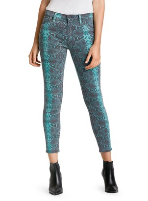 Hudson Barbara Mid-Rise Snakeskin High-Rise Skinny Jeans