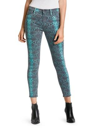 Hudson Jeans Barb Snakeskin High-Rise Skinny Jeans