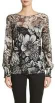 Fuzzi Floral Print Tulle Blouson Top