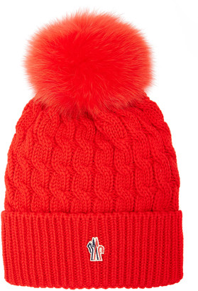MONCLER GRENOBLE Fur-Trimmed Cable-Knit Wool Beanie