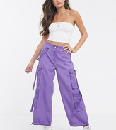 Asos DESIGN Petite purple oil wash combat with strapping