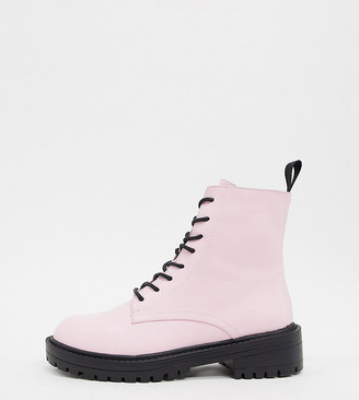 Raid Exclusive Micah lace up flat boots in pink