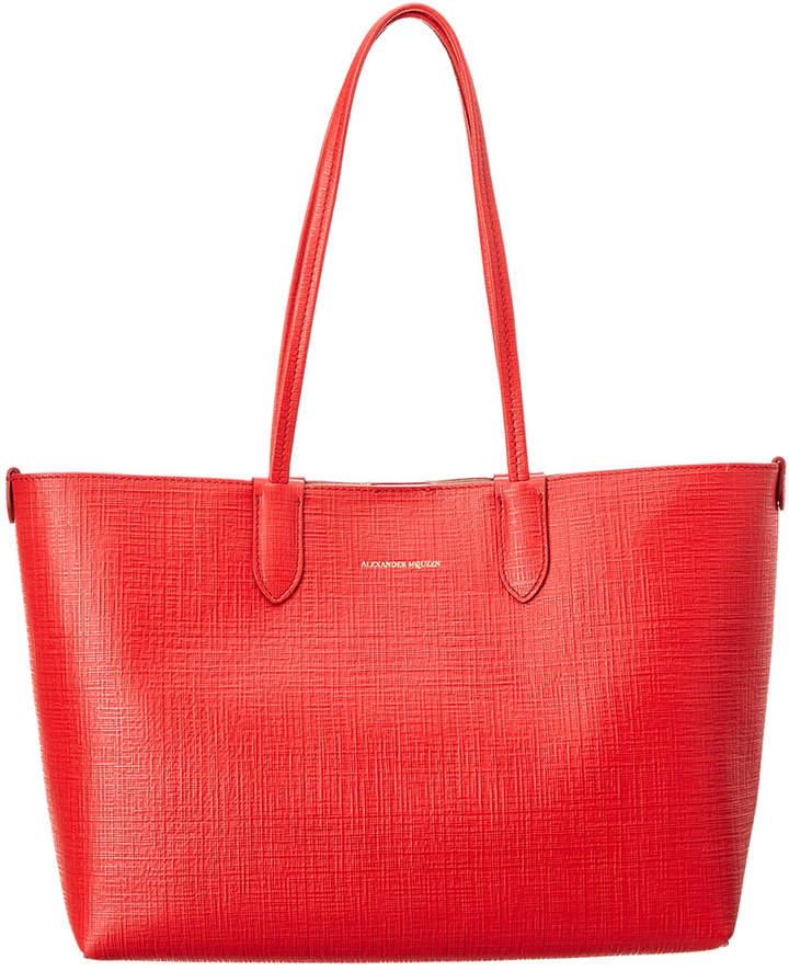 Alexander McQueen Small Embossed Leather Shopper Tote
