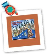 3dRose LLC qs_170560_2 BLN Vintage US Cities and States Postcards - Greetings From Philadelphia Pennsylvania with Liberty Bell - Quilt Squares