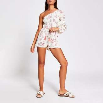 River Island Womens Yellow floral shirred beach playsuit